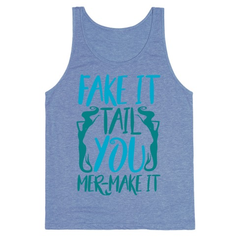 Fake It Tail You Mer-Make It White Print Tank Top