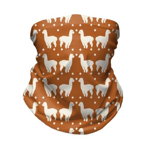 Llama Rust Boho Pattern Neck Gaiter