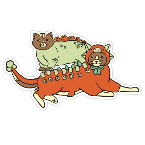 Cats Wearing Dinosaur Costumes Stego & Anky Die Cut Sticker