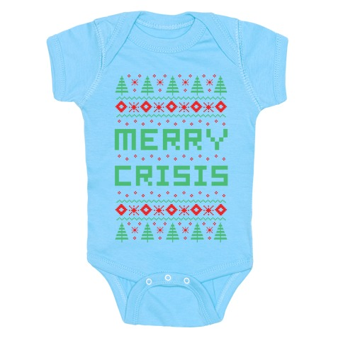 Merry Crisis Ugly Christmas Sweater Baby Onesy