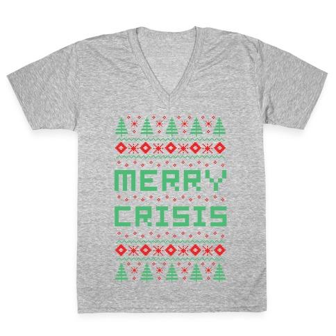 Merry Crisis Ugly Christmas Sweater V-Neck Tee Shirt