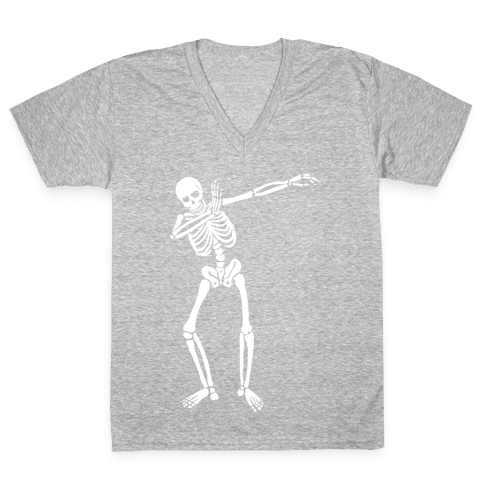 Dabbing Skeleton V-Neck Tee Shirt