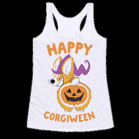 Happy Corgiween! Racerback Tank Top