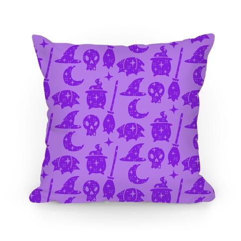 Sparkle Witch Pattern (Purple) Pillow