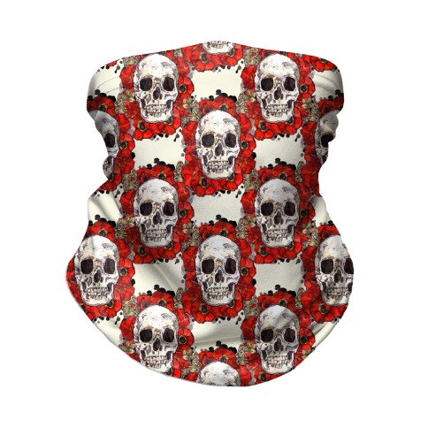 Skull on a Bed of Poppies Pattern Red Neck Gaiter