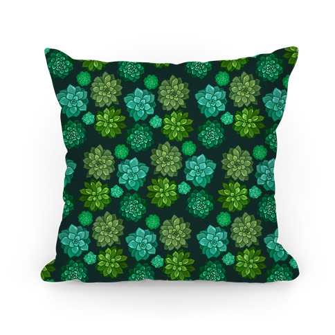 Green Succulent Pattern Pillow