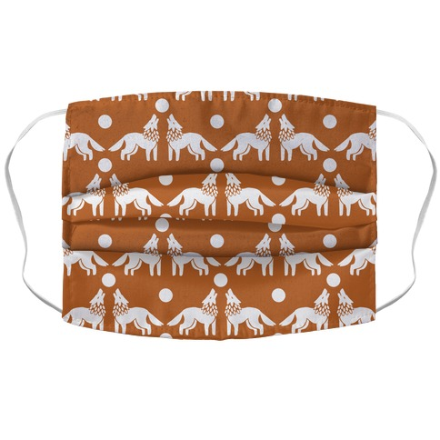 Wolves Howling at Moon Boho Pattern Rust Face Mask