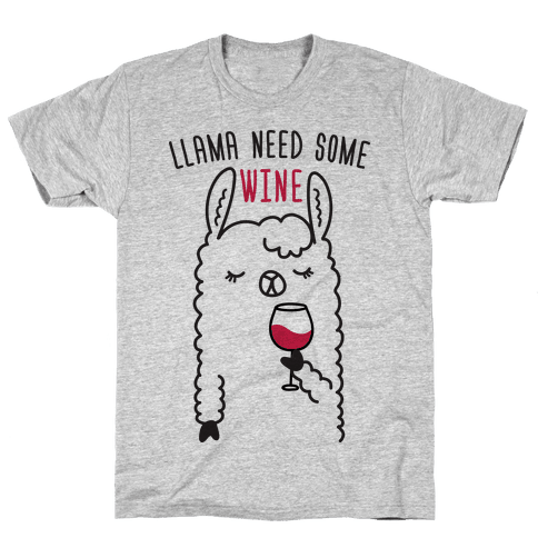 Llama Need Some Wine Mens T-Shirt
