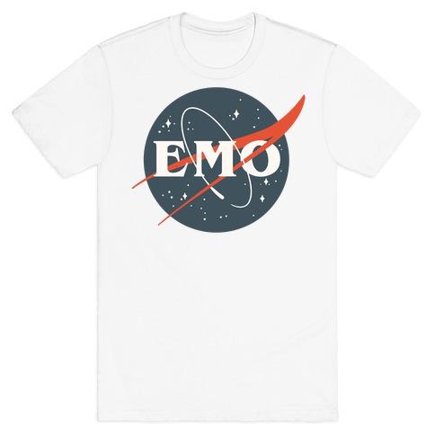 Emo Nasa Parody White Print T-Shirt