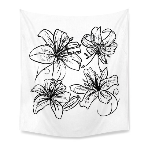 Black and White Tiger Lillies Pattern on White Tapestry