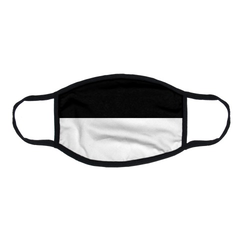 Horizontal Black and White Split Flat Face Mask