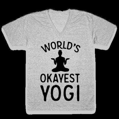 World's Okayest Yogi V-Neck Tee Shirt