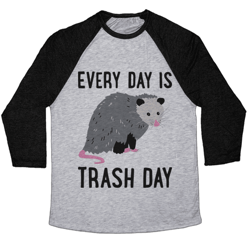 Every Day Is Trash Day Opossum Baseball Tee