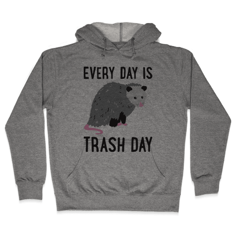 Every Day Is Trash Day Opossum Hooded Sweatshirt