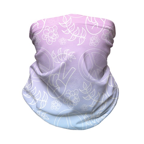 Hippie Peace Pattern Cotton Candy Gradient Neck Gaiter