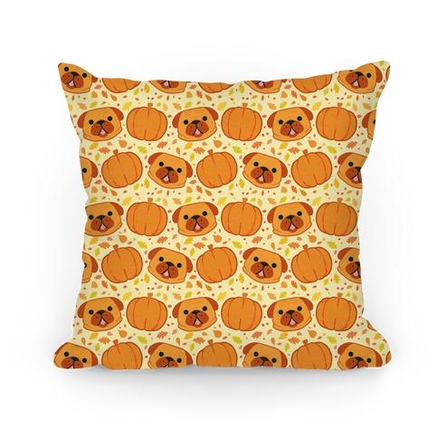 Pug Pumpkin Pattern Pillow
