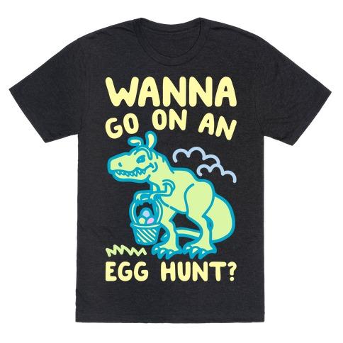 Wanna Go On An Egg Hunt T-Rex White Print T-Shirt