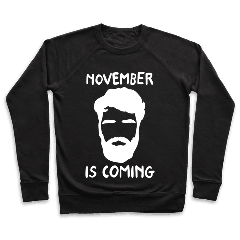November Is Coming Parody White Print Pullover
