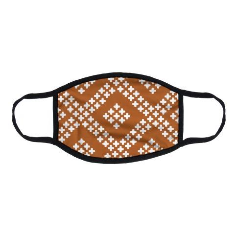 Little Cross Pattern Rust Orange Flat Face Mask