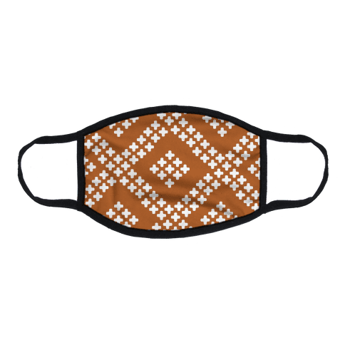 Little Cross Pattern Rust Orange Flat Face Mask
