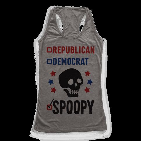 Republican Democrat SPOOPY Racerback Tank Top
