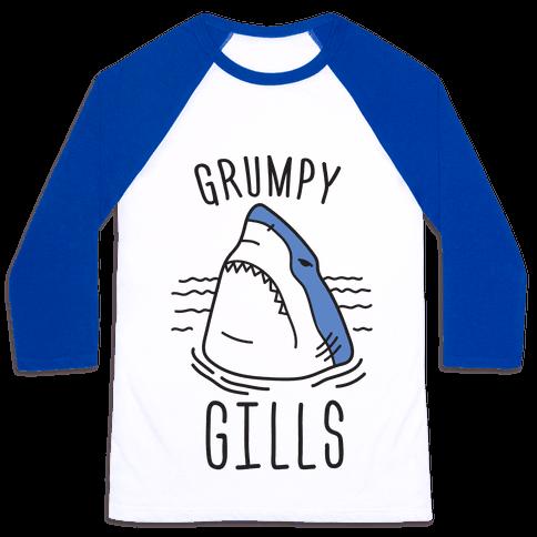 Grumpy Gills Shark Baseball Tee