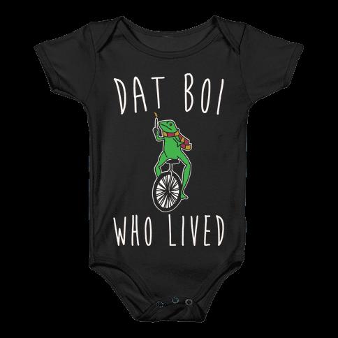 Dat Boi Who Lived Parody White Print Baby Onesy