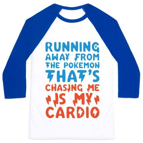 Running Away From The Pokemon That's Chasing Me Parody Baseball Tee