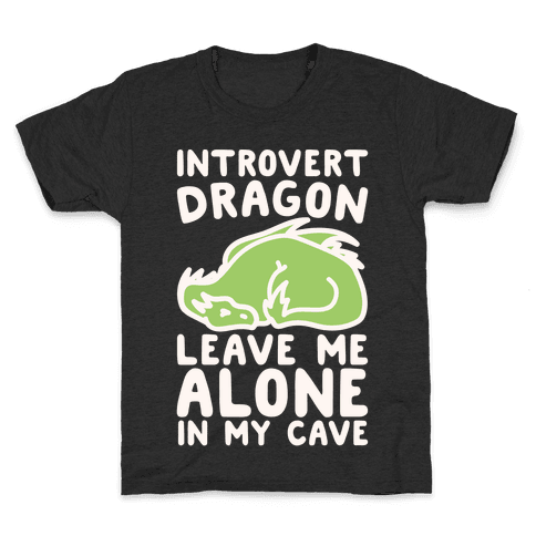 Introvert Dragon White Print Kids T-Shirt