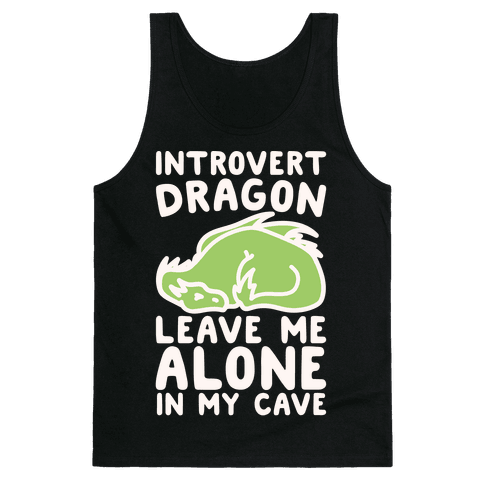 Introvert Dragon White Print Tank Top