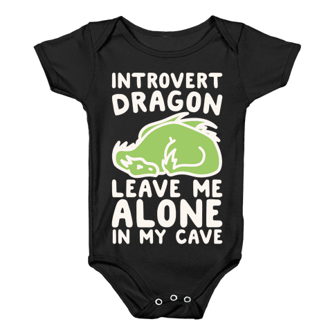 Introvert Dragon White Print Baby Onesy