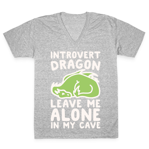 Introvert Dragon White Print V-Neck Tee Shirt