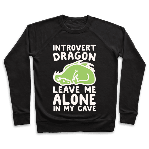 Introvert Dragon White Print Pullover