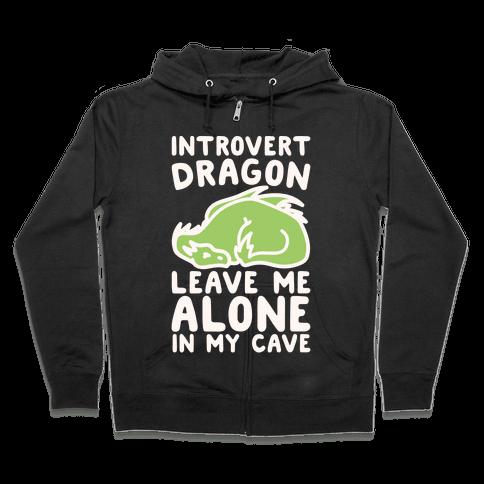 Introvert Dragon White Print Zip Hoodie