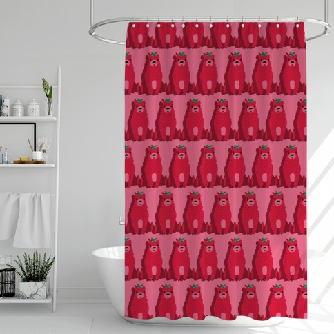 Angry Strawbeary Pattern Shower Curtain