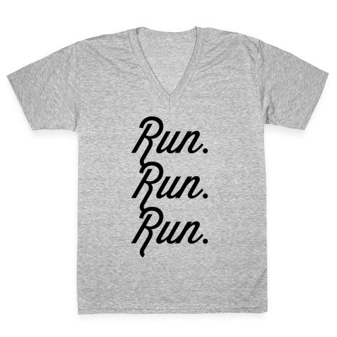 Run Run Run V-Neck Tee Shirt