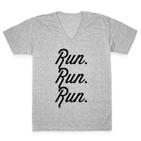 Run Run Run V-Neck Tee Shirt