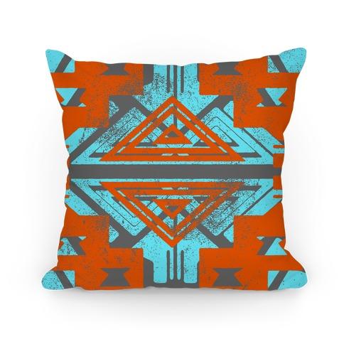 Orange and Teal Aztec Pattern Pillow