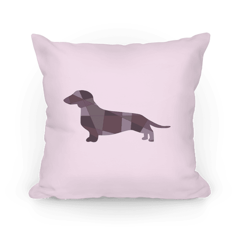 Geometric Wiener Dog Pillow