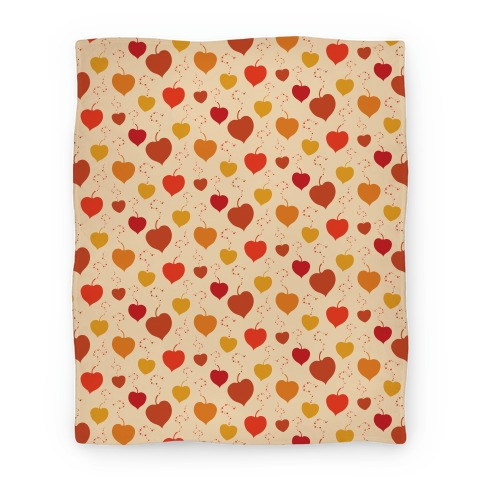 Falling Heart Shaped Autumn Leaves Pattern Blanket