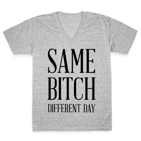 Same Bitch Different Day V-Neck Tee Shirt