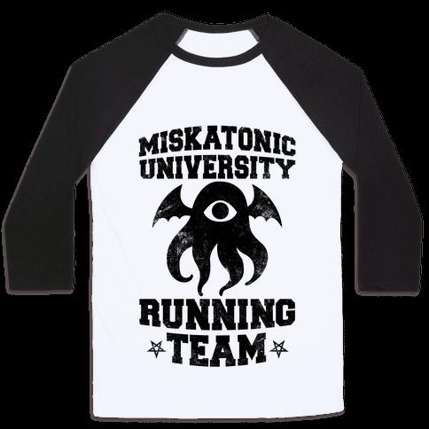 Miskatonic University Running Team Baseball Tee