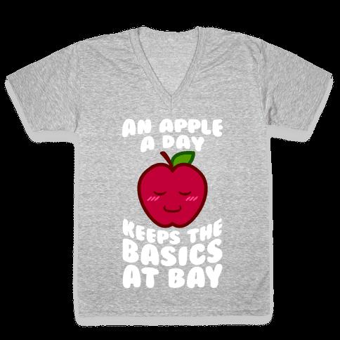 An Apple A Day Keeps The Basics At Bay V-Neck Tee Shirt