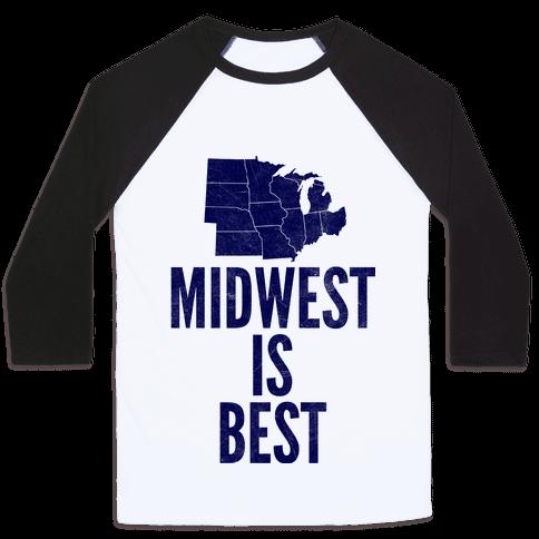 Midwest Is Best Baseball Tee