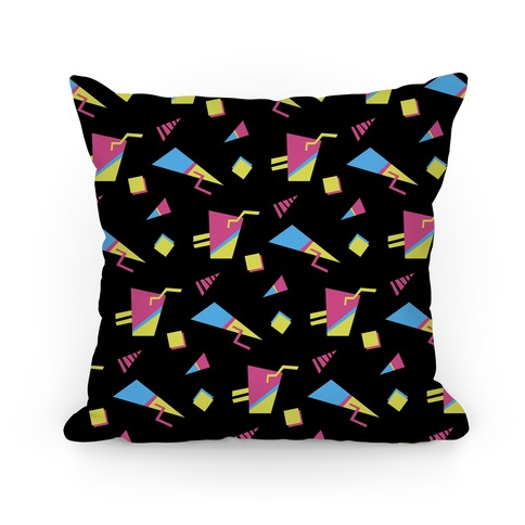 Black 80s/90s Pattern Pillow