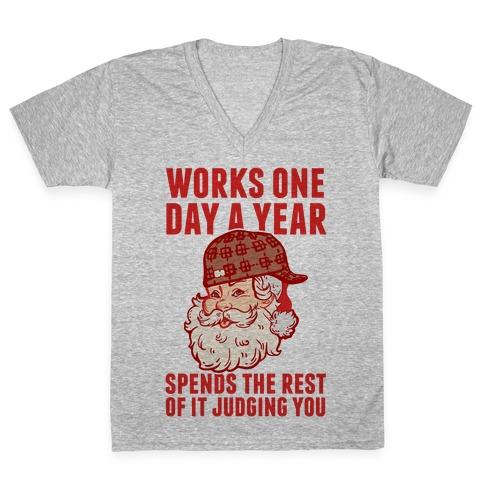 Scumbag Santa V-Neck Tee Shirt