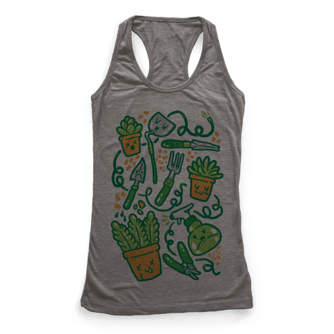Kawaii Plants and Gardening Tools Racerback Tank Top