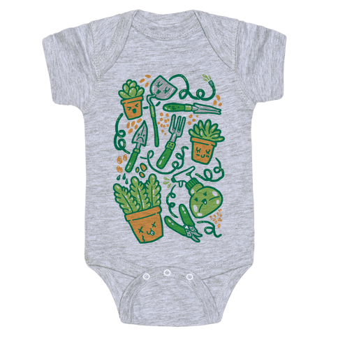Kawaii Plants and Gardening Tools Baby Onesy