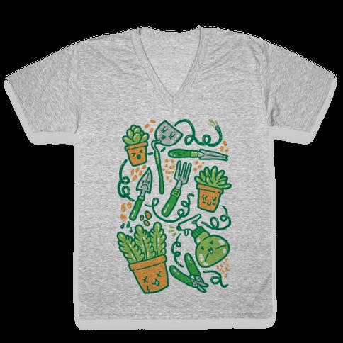 Kawaii Plants and Gardening Tools V-Neck Tee Shirt