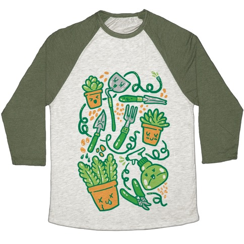 Kawaii Plants and Gardening Tools Baseball Tee
